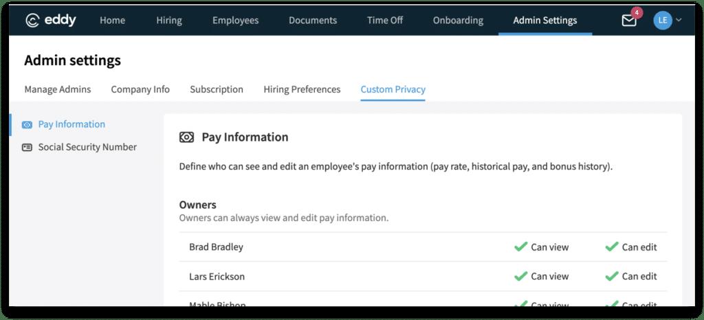 Custom Privacy Settings - Eddy