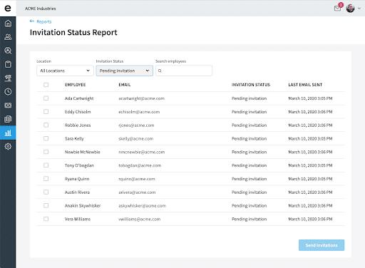 Invitation Status Report Screenshot