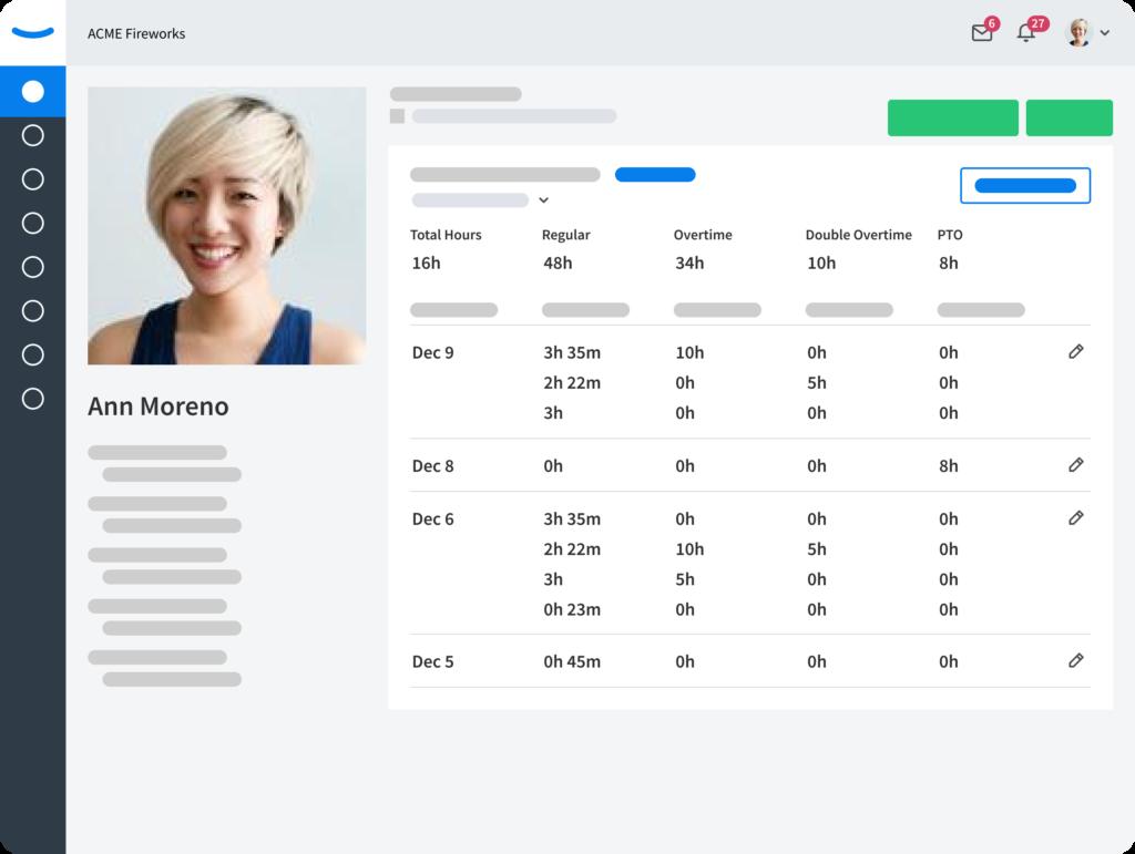 Time Tracking - Employee profile - Eddy